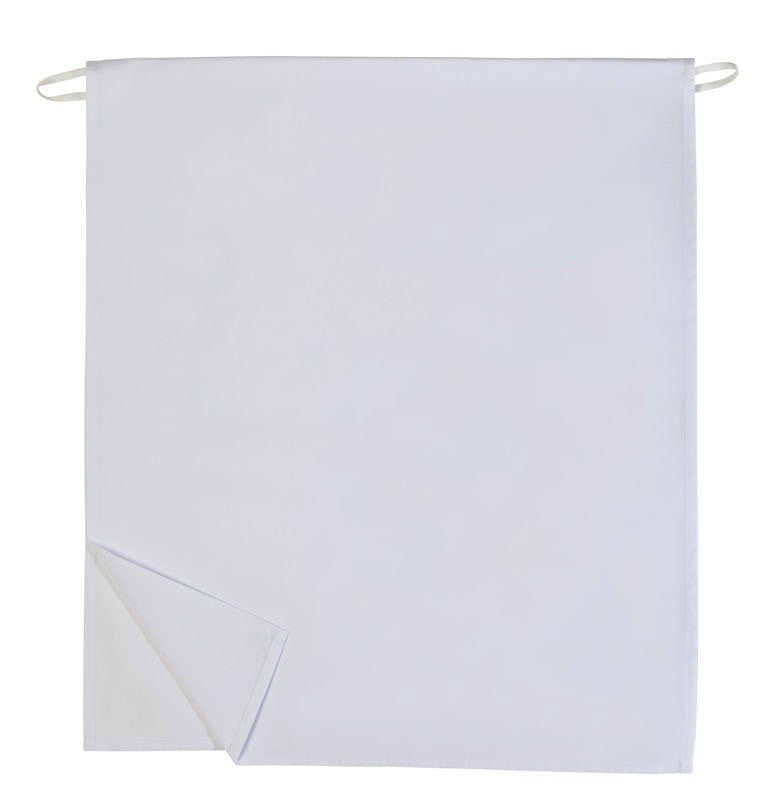 "Long 4 way Apron - White 32""L by 30""W Reversible White Fully Open"