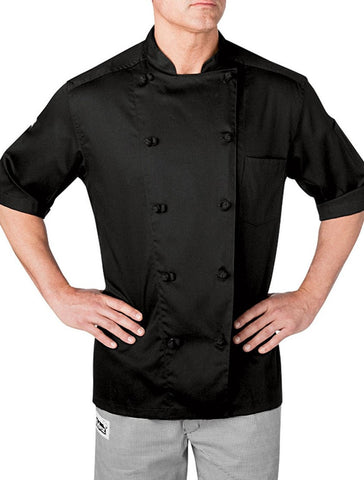 Chefwear Five Star Short Sleeve Chef Coat 5551 Black Front