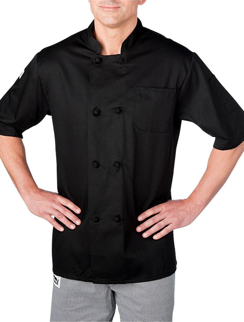 Chefwear Four Star Short Sleeve Cloth Knot Chef Jacket (5610) Black