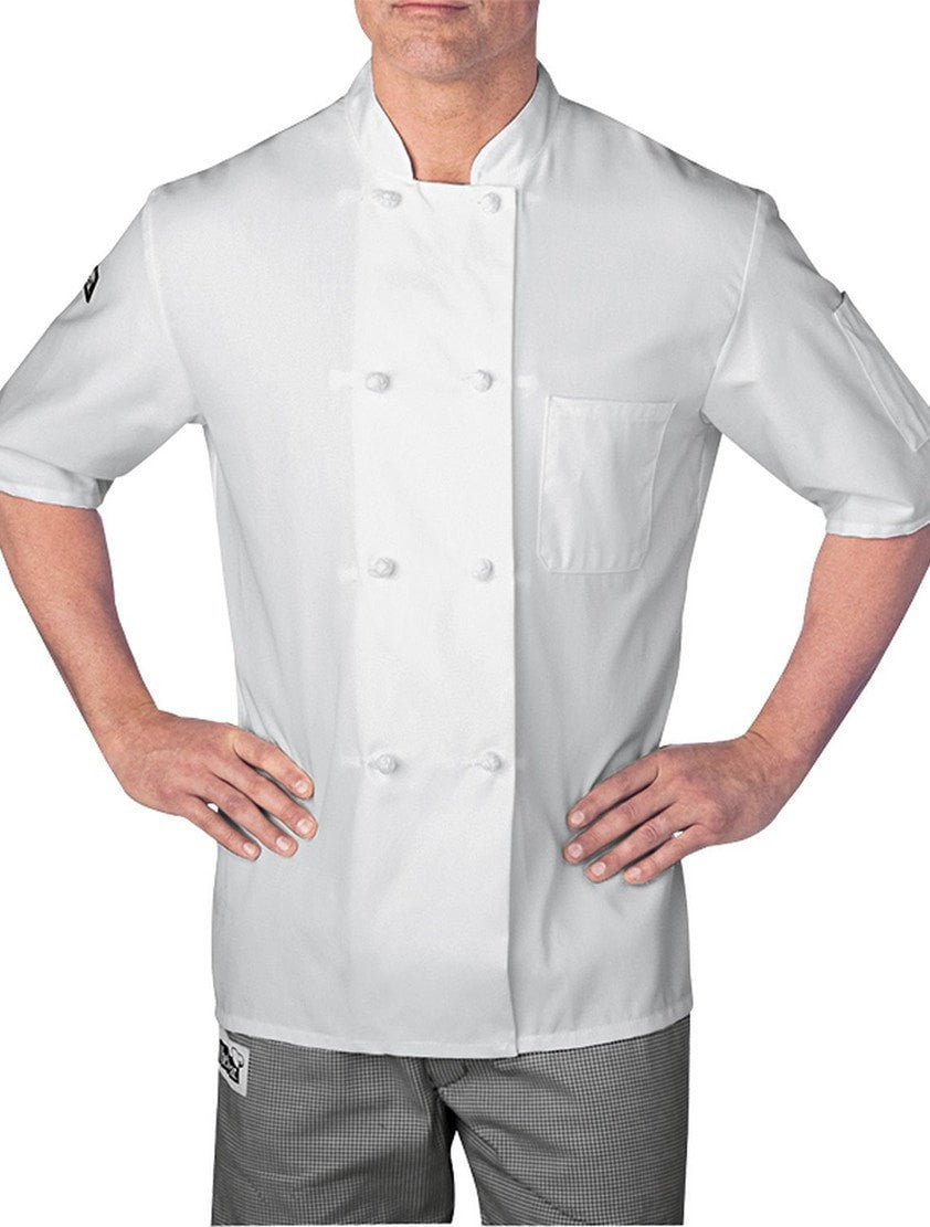Chefwear Four Star Short Sleeve Cloth Knot Chef Jacket (5610) White