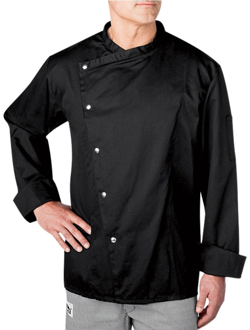 Four Star 5620 Snap Chef Coat by Chefwear Black Brushed Snaps