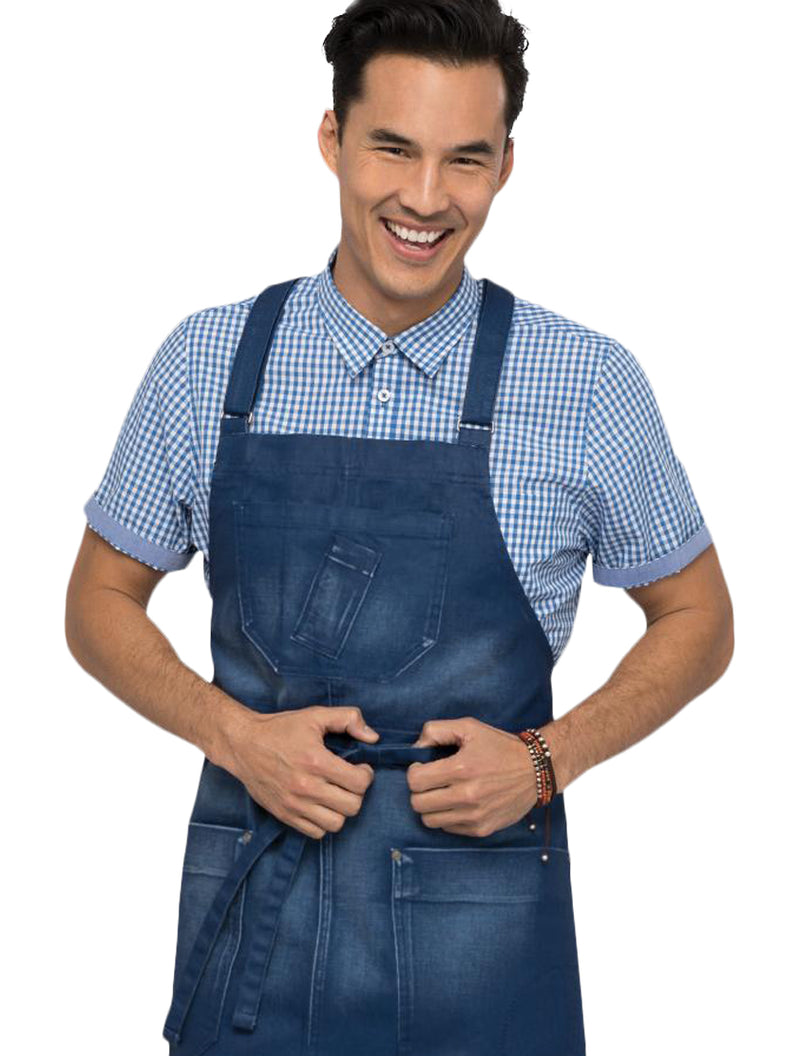 Chef Works Gingham Hommes Button Down Modern Fit - Bleu