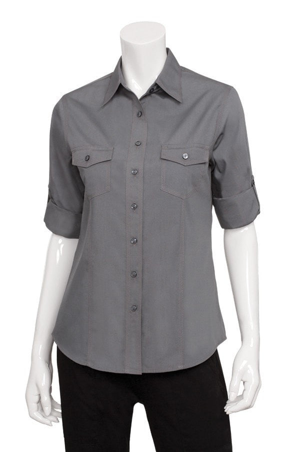 Chef Works Women's Two-pocket Shirt Grey