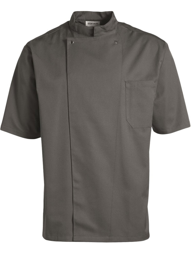 Kentaur 2360 Short Sleeve Unisex Chef/Waiter Jacket - Grey - Front View