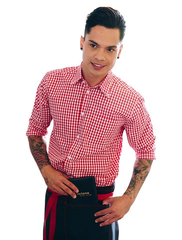 Chef Works Men's Red Gingham Dress Shirt