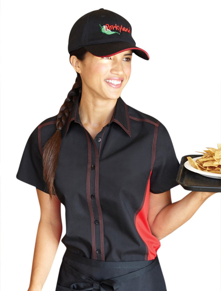 Chef Works Women's Universal Contrast Shirt Black/Red