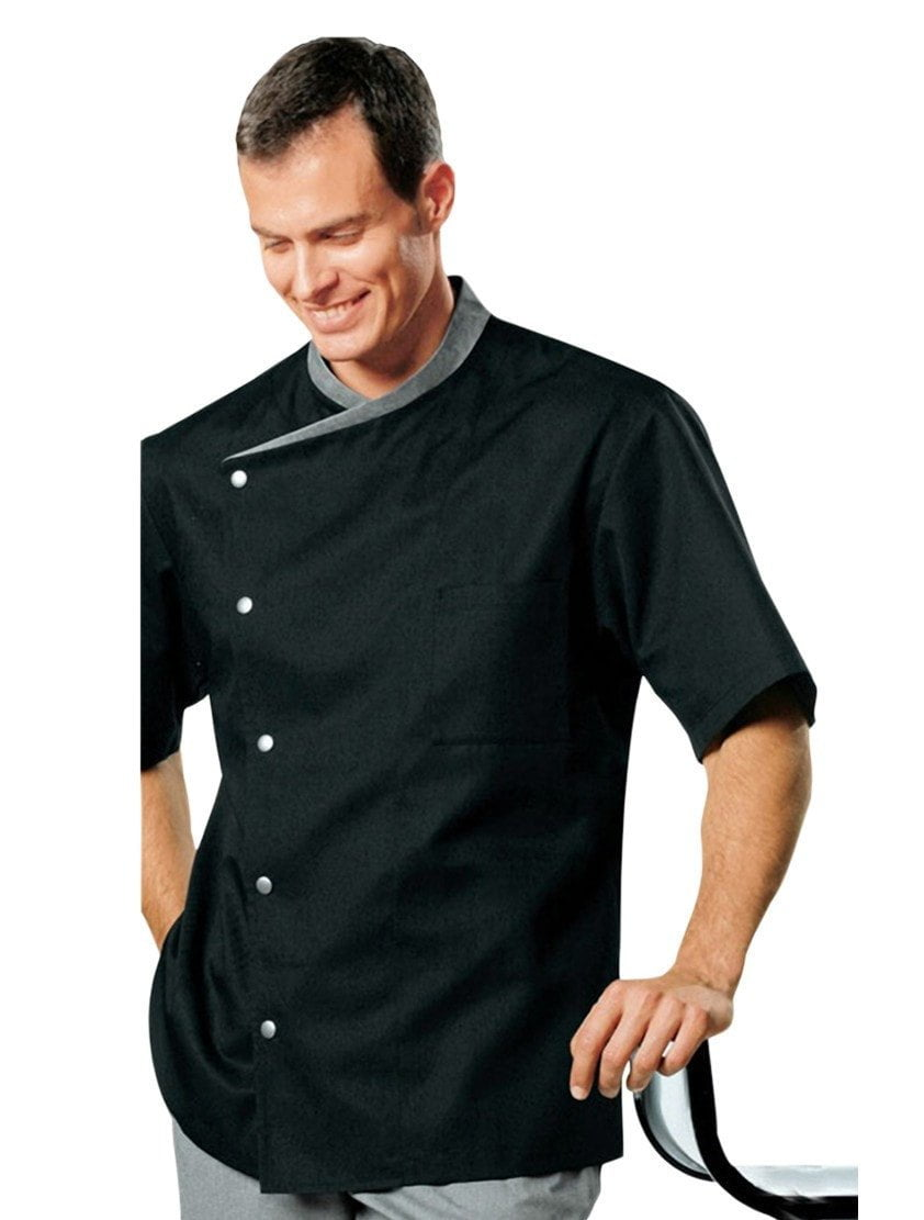 Juliuso Short Sleeved Chef Jacket Black with Gray Trim