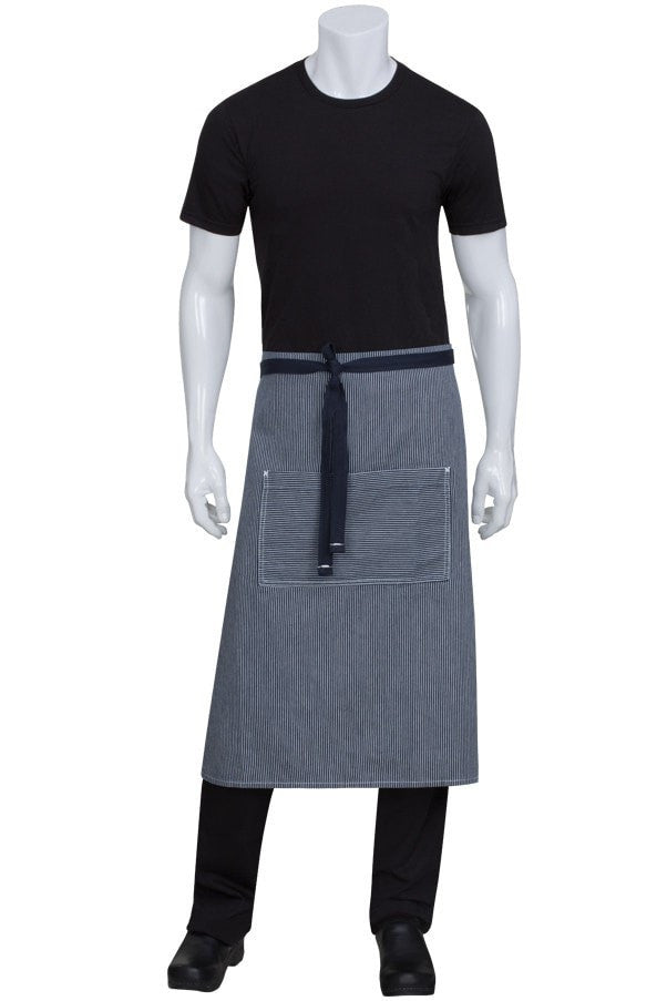 Bragard Travel Bib Chef Apron No Pocket Pinstriped Black/ White