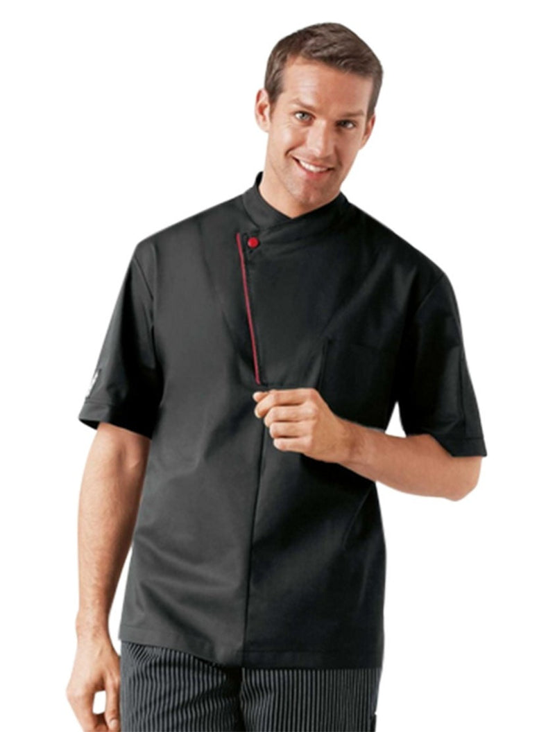 Bragard Dallys Chef Jacket Black with Red Piping