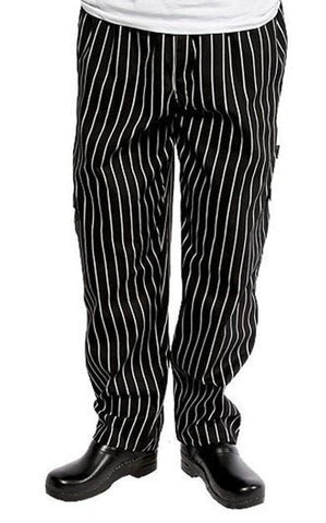 Chef Works Designer Baggy Chef Pants Black and White Chalk Stripe Front