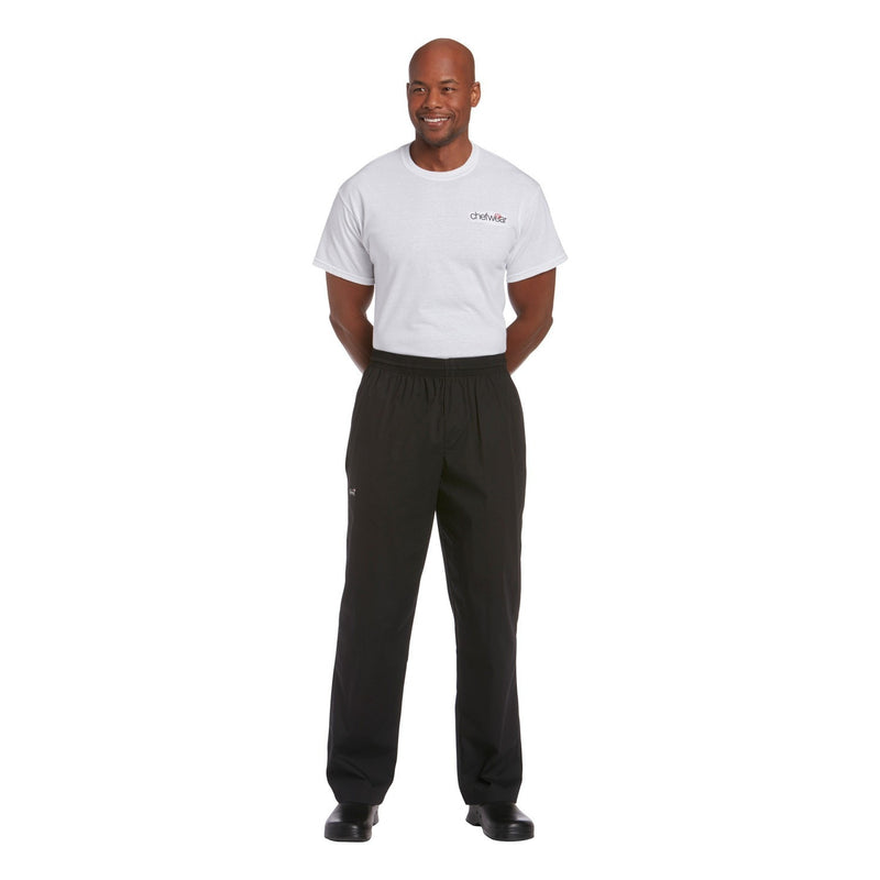 Chefwear Traditional Rip Stop Chef Pants Black CW3101 - full