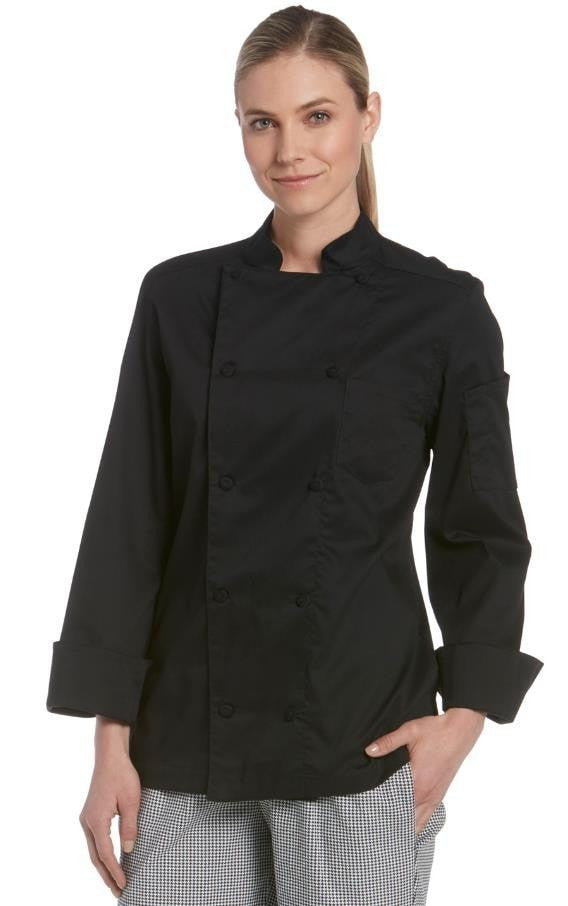 Chefwear Women's Long Sleeve Vented Lightweight Chef Coat Black - Front