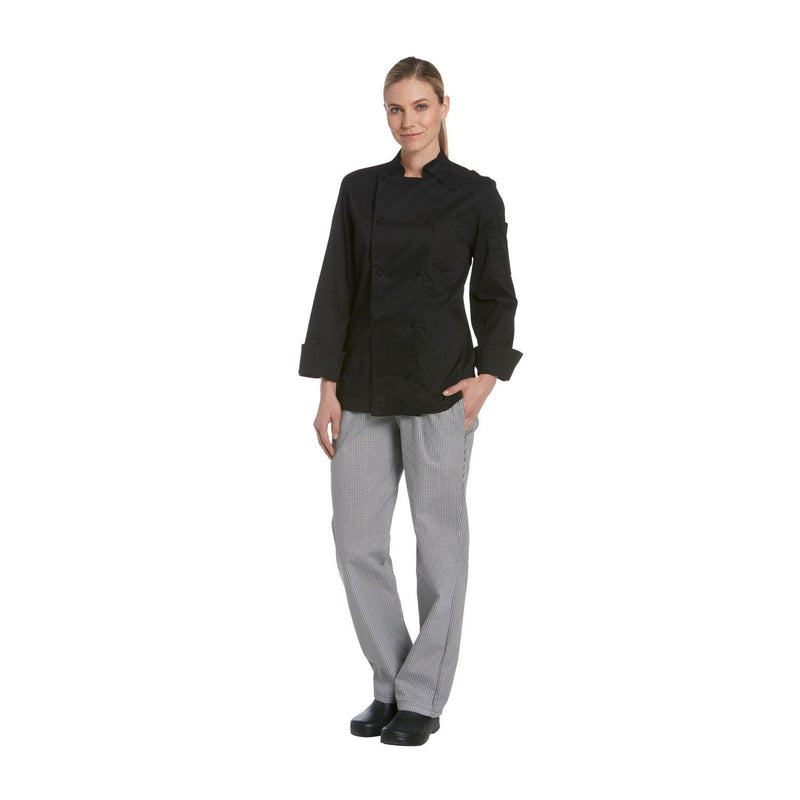 Chefwear Women's Long Sleeve Vented Lightweight Chef Coat Black - Side
