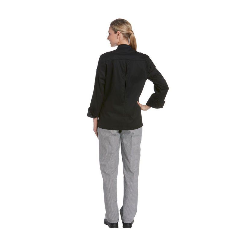 Chefwear Women's Long Sleeve Vented Lightweight Chef Coat Black - Back