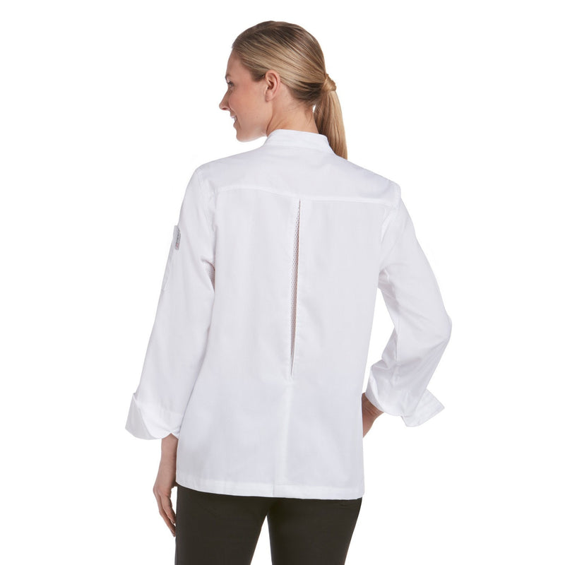 Chefwear Women's Long Sleeve Vented Lightweight Chef Coat White - back