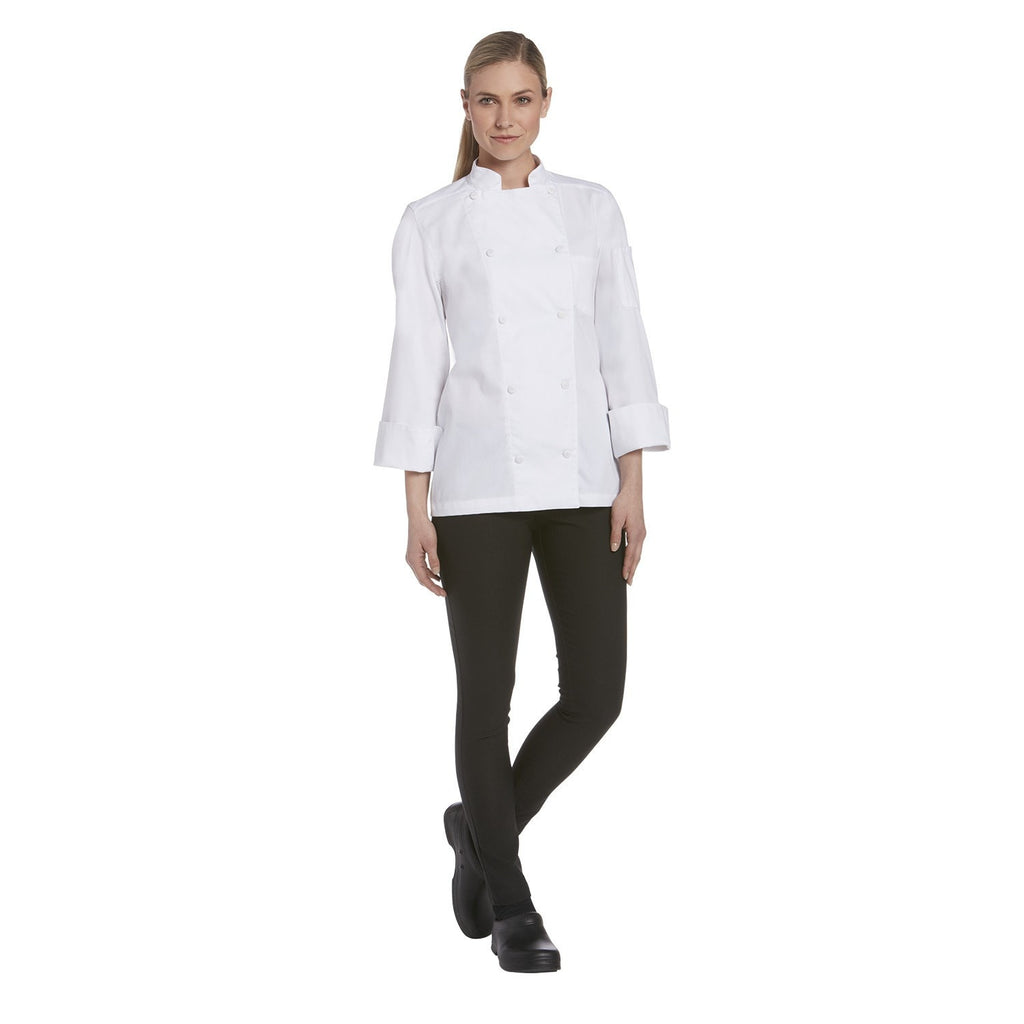Chefwear Women's Long Sleeve Vented Lightweight Chef Coat White - Full
