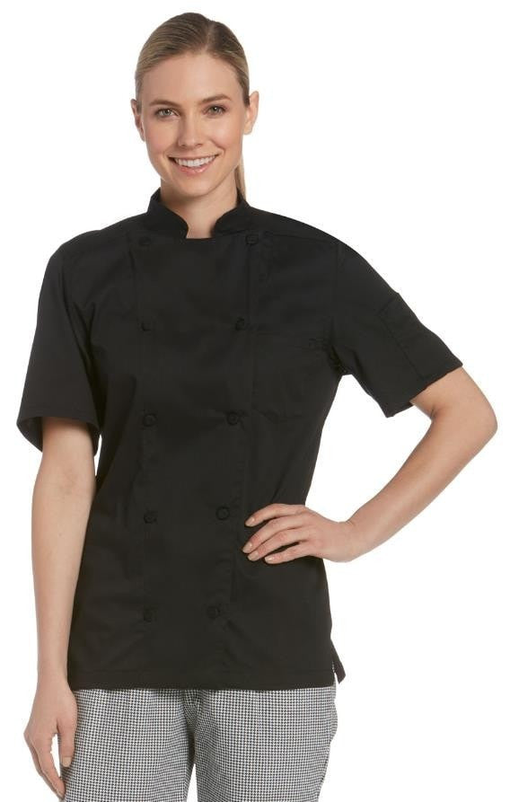 Women's Short Sleeve Vented Lightweight Chef Coat Black - Front