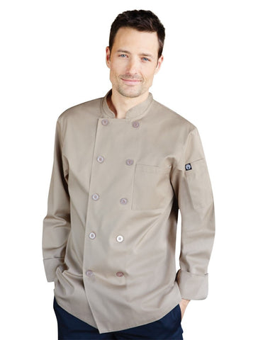 Chef Works Cyprus Basic Khaki Chef Coat CCBAKHA Front Profile
