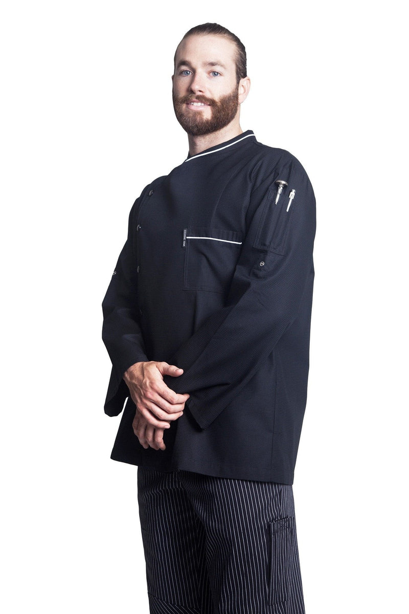 Bragard Chicago Chef Jacket w/Honeycomb Weave Front Side