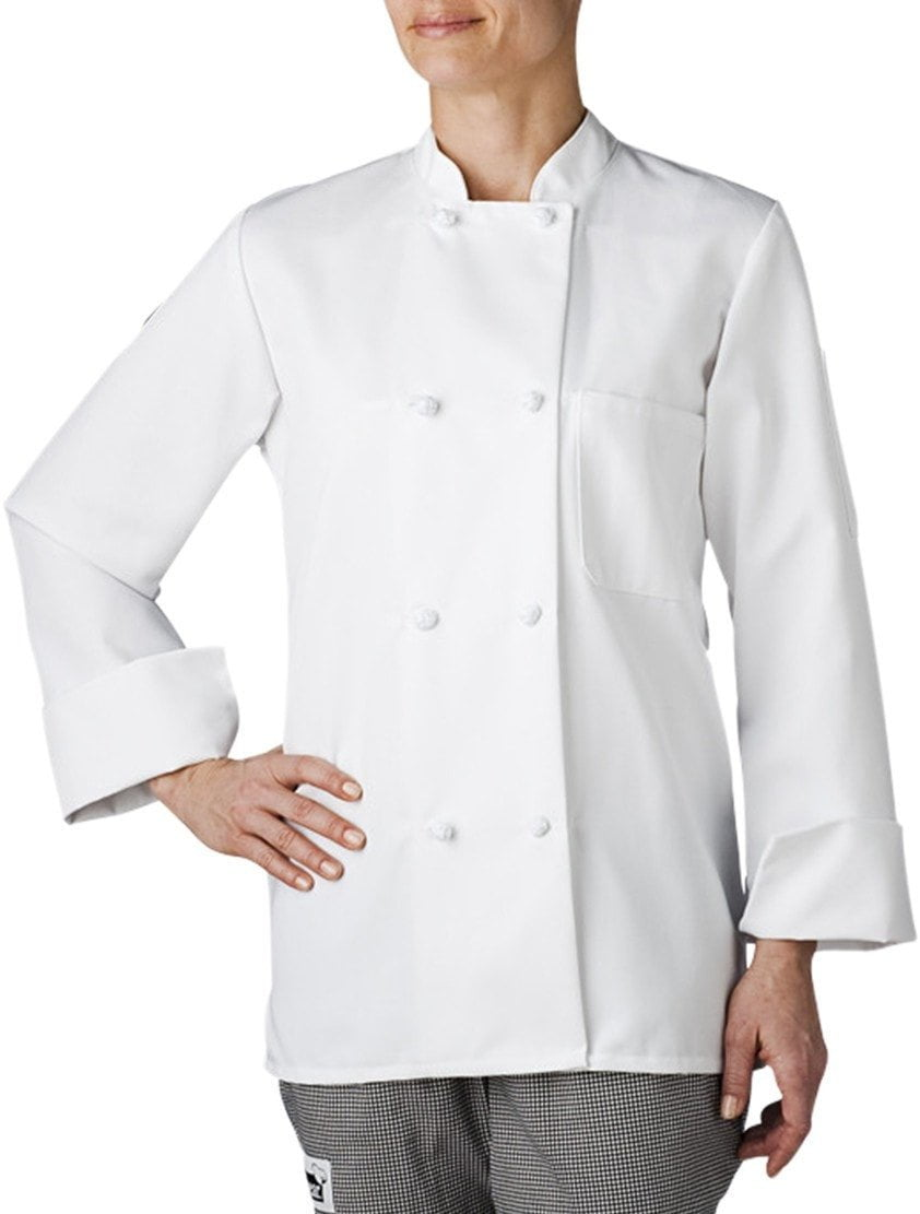 Three Star Women!s Cloth-Button Chef Coat by Chefwear 4430 White