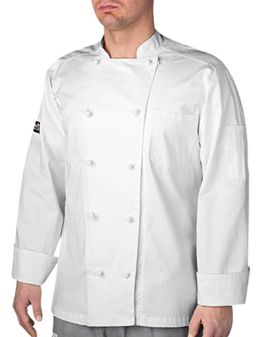 Five Star Traditional Chef Coat by Chefwear White Long Sleeve Front
