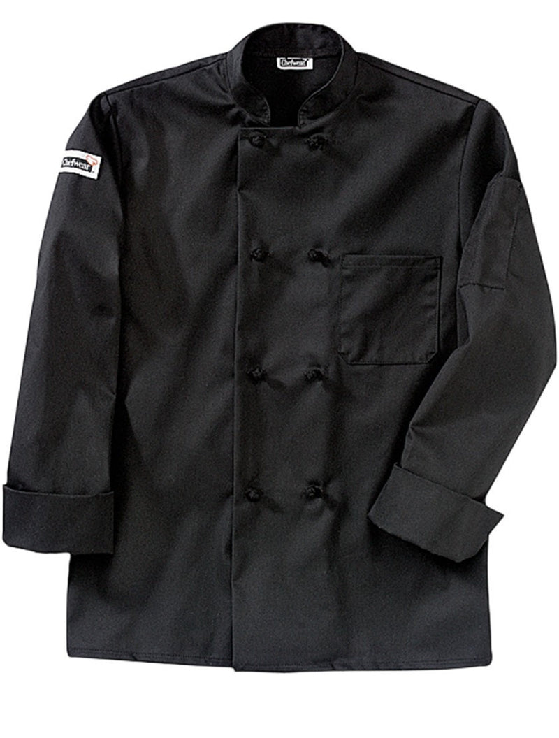 Four Star Knot-Button Coat by Chefwear 5650 Black Profile