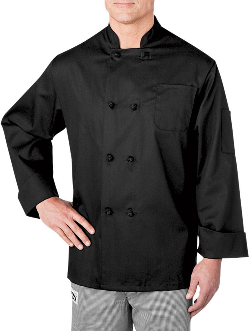 Four Star Knot-Button Coat by Chefwear 5650 Black Front