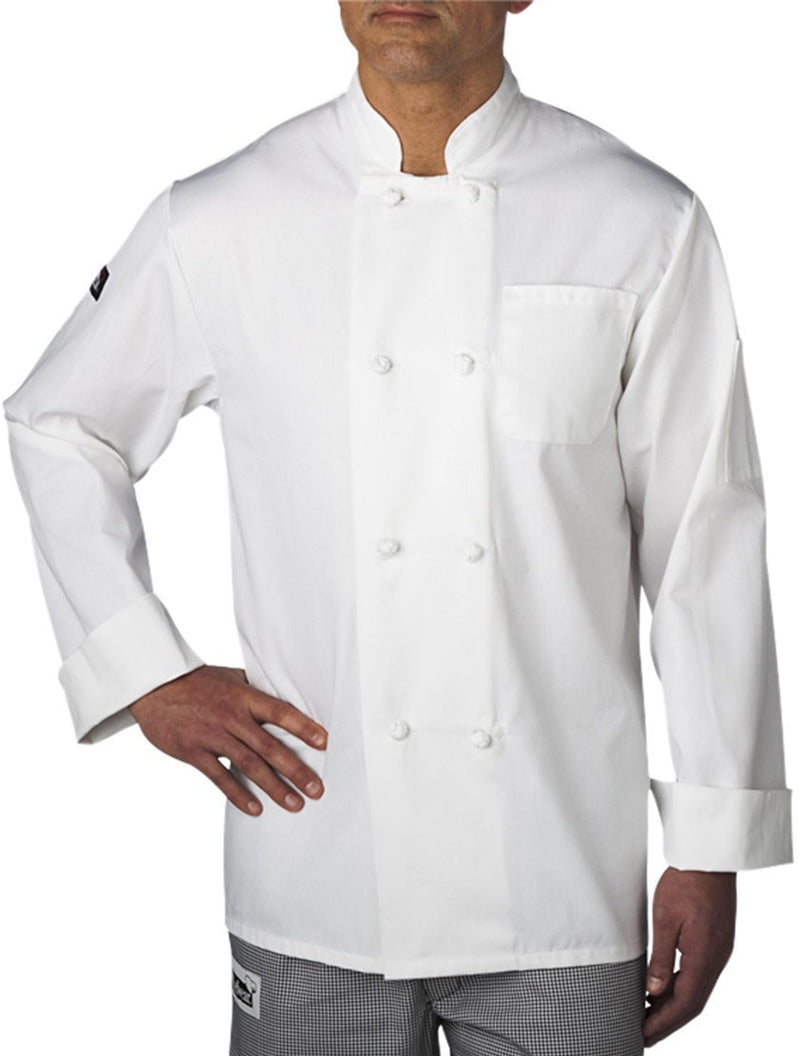 Four Star Knot-Button Coat by Chefwear 5650 White Front