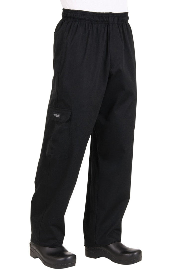 Pantalon cargo J54 noir par Chef Works Black Front Profile