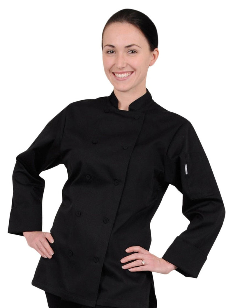 Marbella Women's Chef Coat Black Front Profile