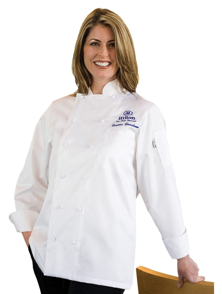 Elyse Manteau de Chef pour Femme par Chef Works White Front Profile