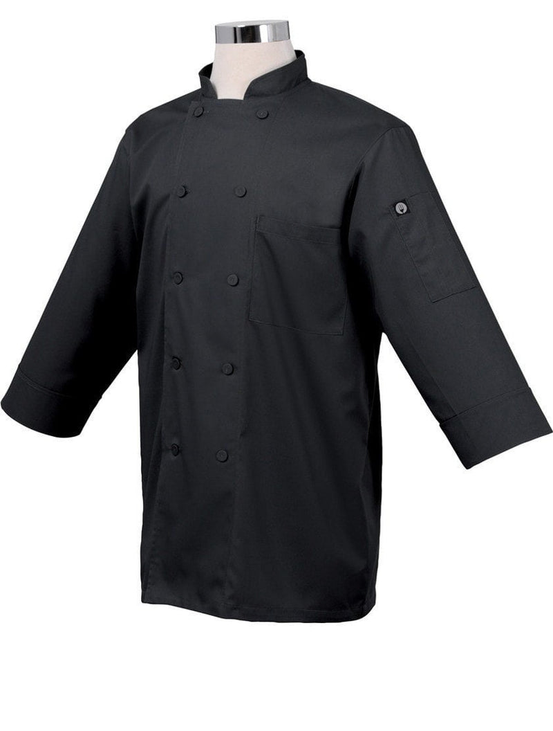 Basic 3/4 Sleeve Chef Coat Black