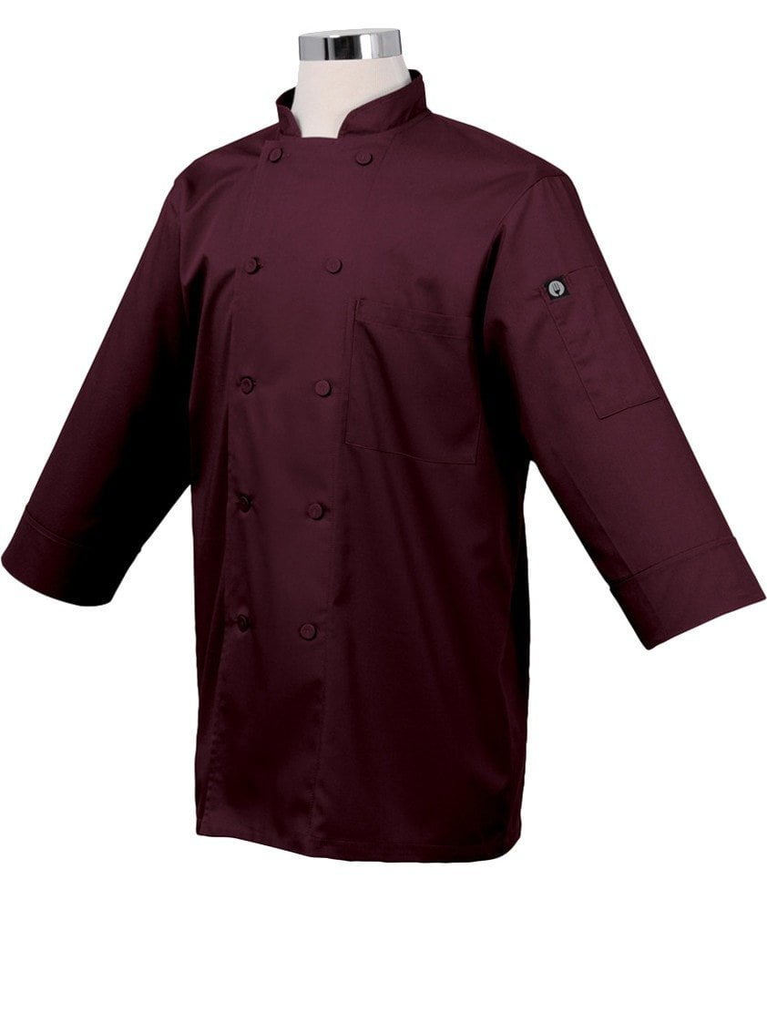 Basic 3/4 Sleeve Chef Coat Merlot