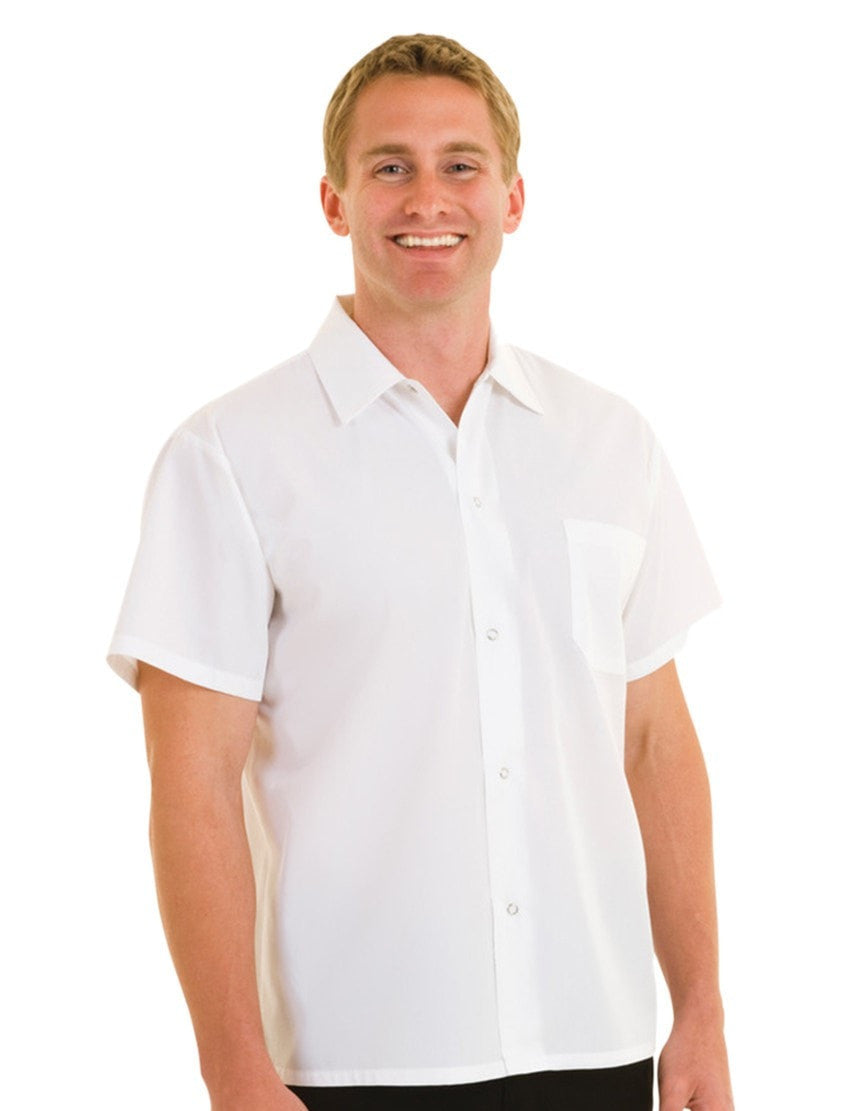 White Utility Shirt by Chef Works Front Profile Snap Buttons