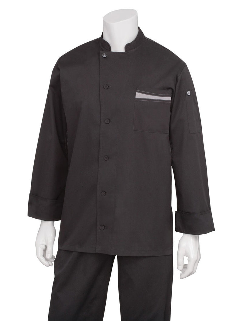 Lyss V- Series Chef Coat by Chef Works Black Front