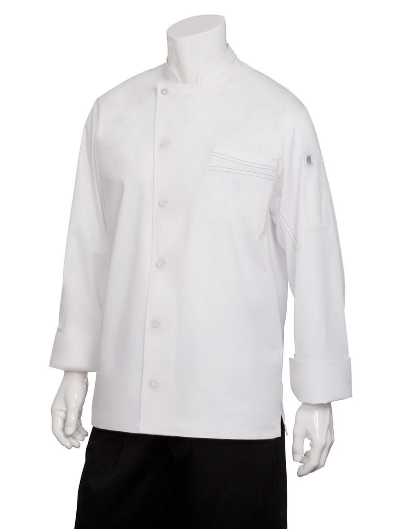 Lyss V- Series Chef Coat by Chef Works White Front