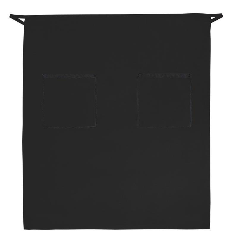 "Full Bistro Apron with 2 Patch Pockets 32""L x 28""W Black"