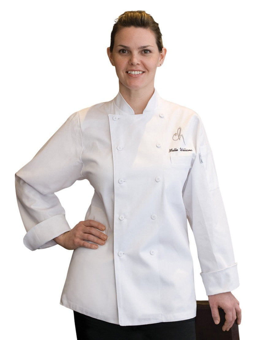 St. Tropez Women's Chef Coat  White Front Profile