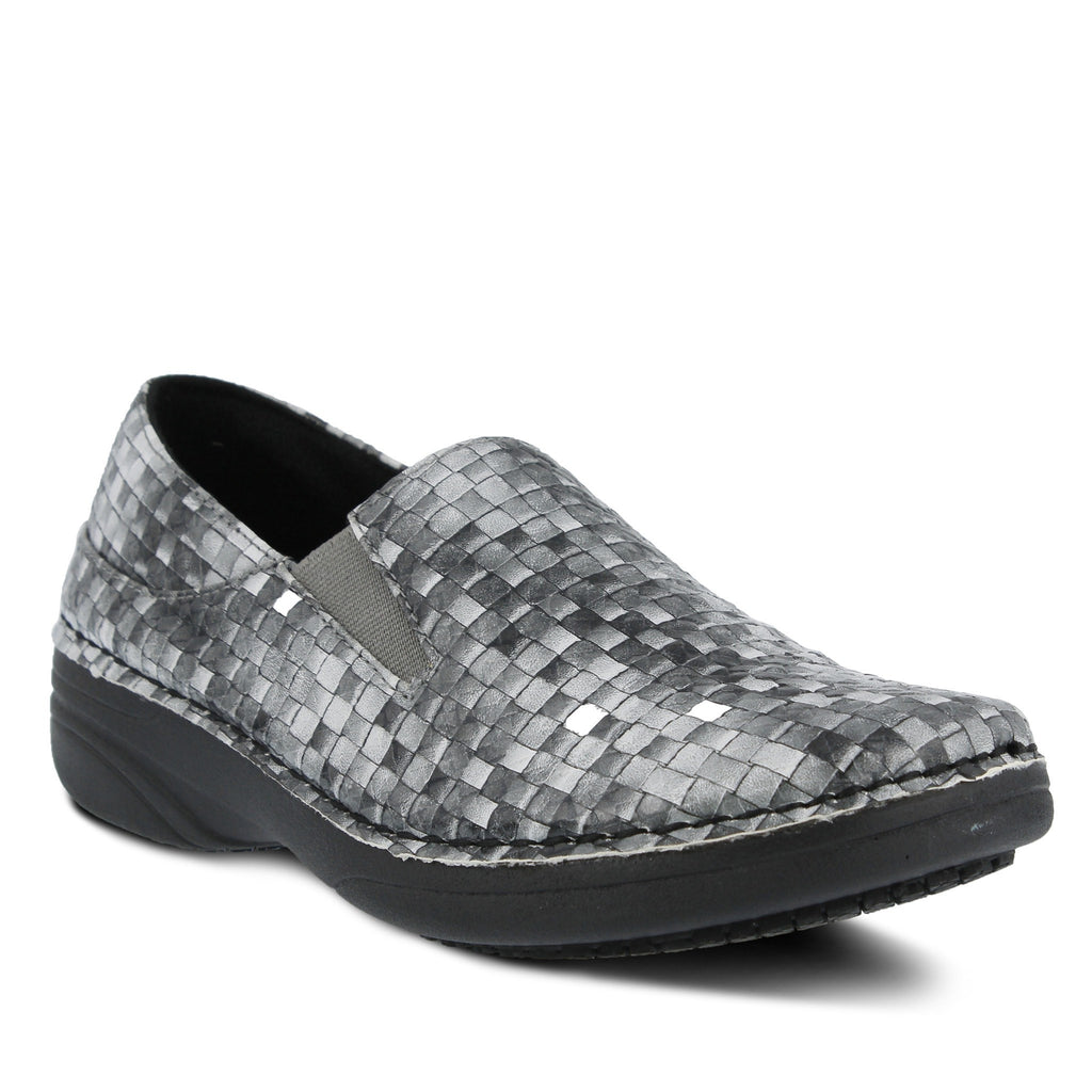 Spring Footwear Ferrara Basket Weave Chef Clog Gray