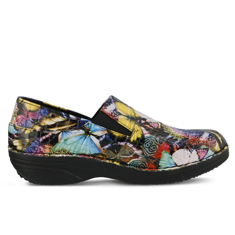 Spring Footwear Ferrara Butterfly Croco Chef Clog Side