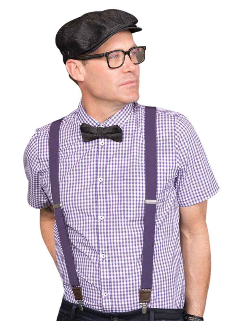 Chef Works Gingham Men's Button Down Modern Fit - Purple
