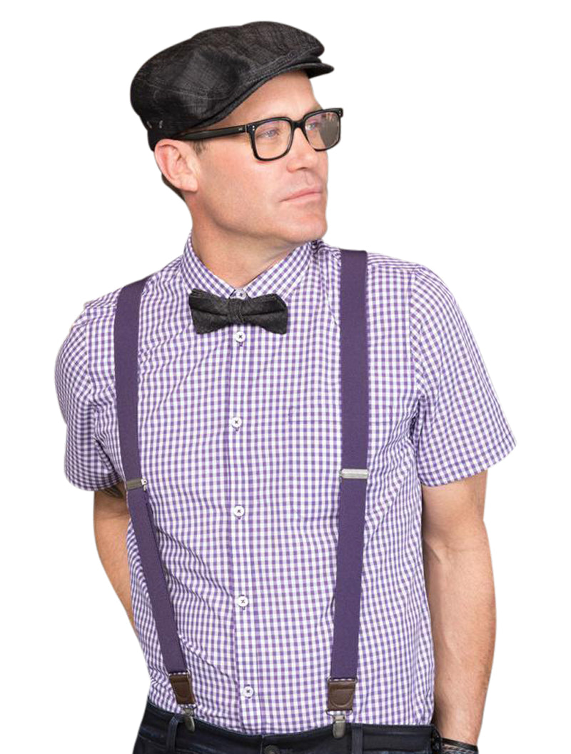 Chef Works Gingham Hommes Button Down Modern Fit - Violet