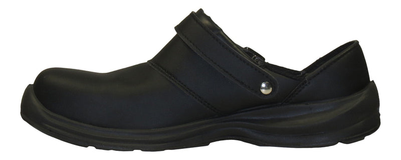 "Giasco ""Free"" Semi Open-Back Leather Work Shoe Black Side Right"