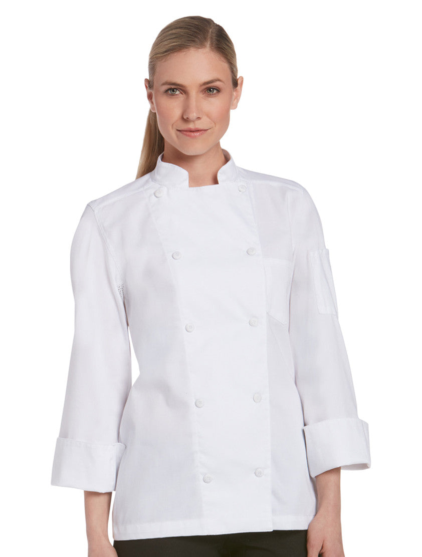Chefwear Women's Long Sleeve Vented Lightweight Chef Coat White - Front
