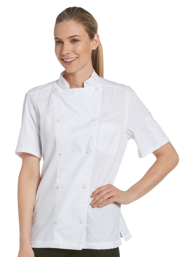 Women's Short Sleeve Vented Lightweight Chef Coat White -Front