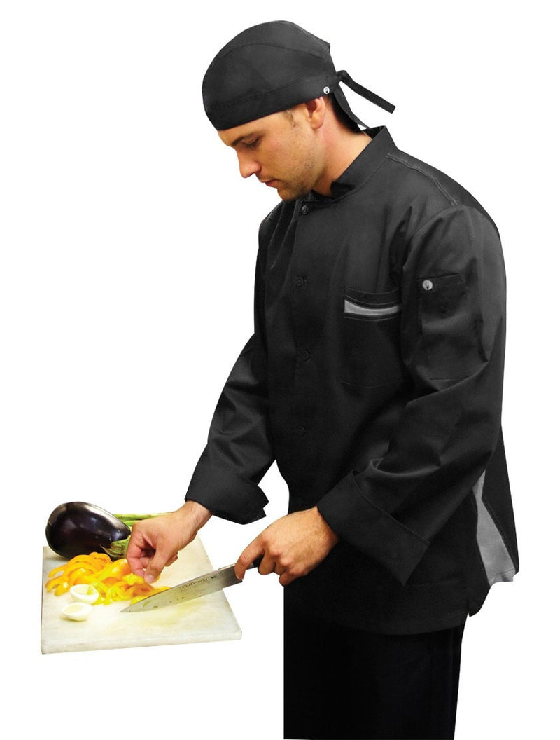 Lyss V- Series Chef Coat by Chef Works Black Side Profile