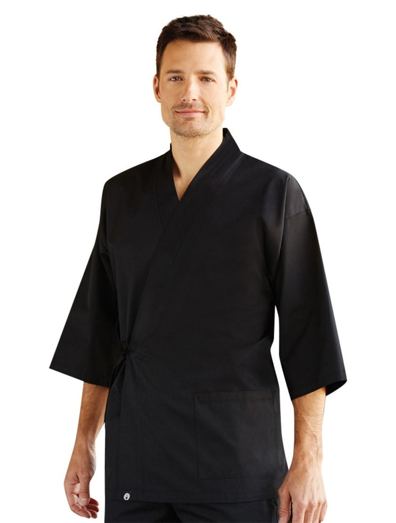 Chef Works Unisex Black Sushi Coat Front Profile
