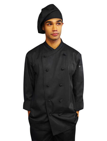 Chef Works Monpellier Basic Chef Coat Black Front Profile