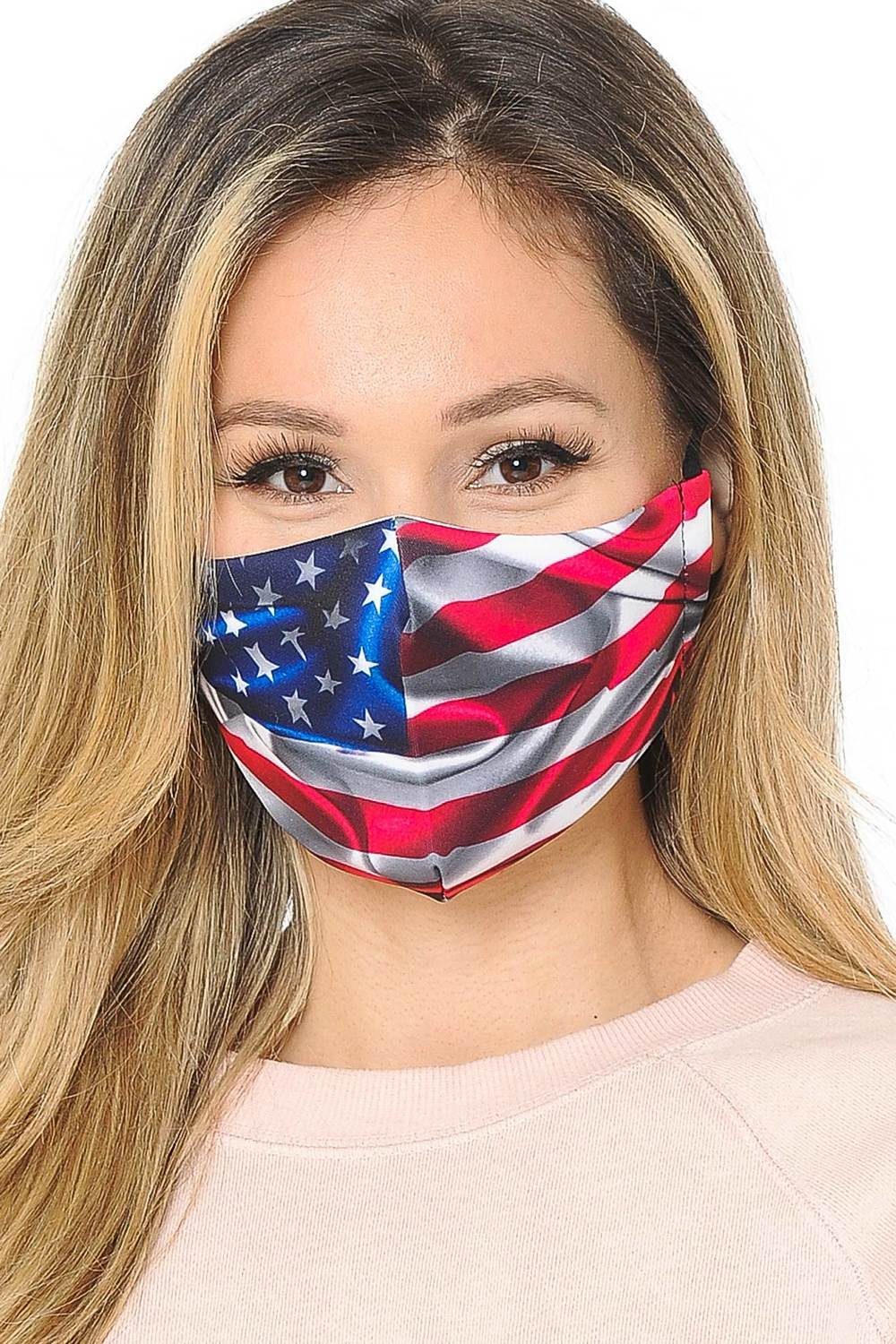 Fiumara Apparel USA Flag Graphic Print Face Mask -2 Pack