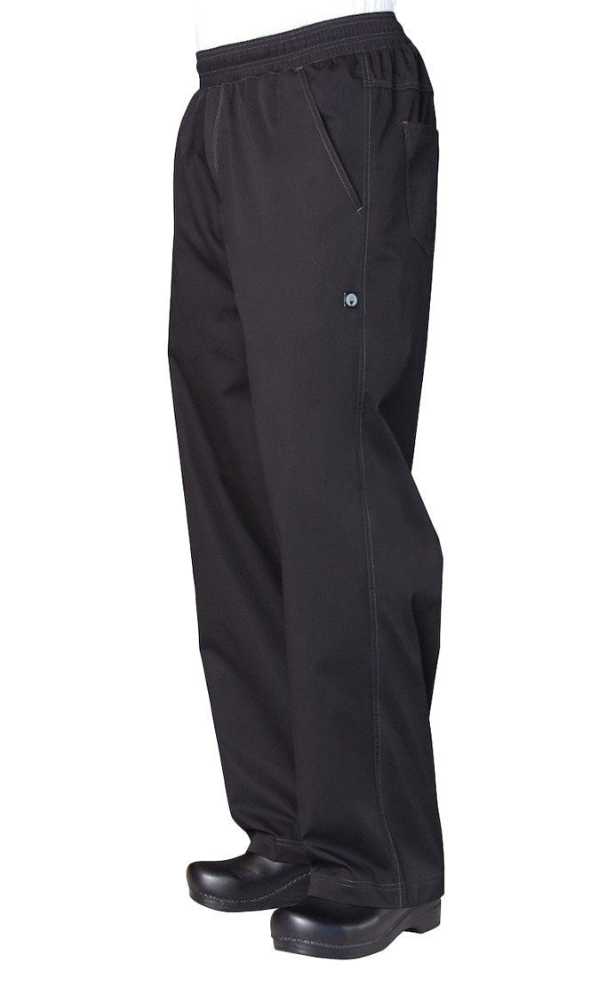 Basic Mens Baggy Pantalon de chef léger et léger par Chef Works Black Side